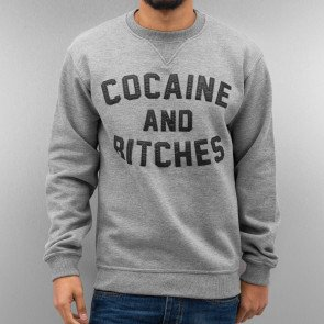 Mikina Just Rhyse Cocaine & Bitches Sweatshirt Grey Melange