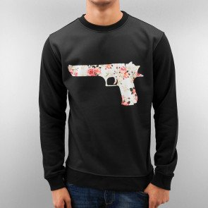 Mikina Just Rhyse Flower Gun Sweatshirt Black