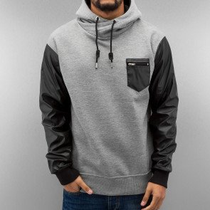 Mikina Just Rhyse PU Arms Hoody Grey Melange