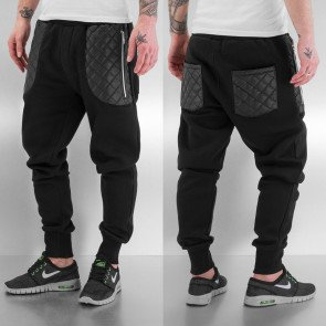 Tepláky Just Rhyse PU Zip Pockets Sweat Pants Black