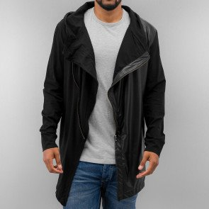 Mikina Just Rhyse Long PU Zip Hoody Black