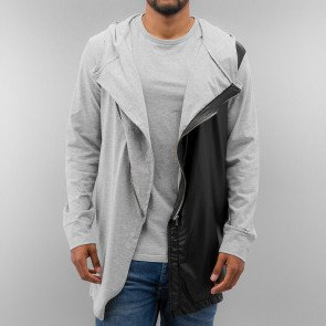 Mikina Just Rhyse Long PU Zip Hoody Grey