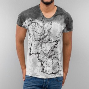 JUST RHYSE DYE FLOWER T-SHIRT BLACK