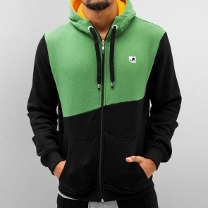 Mikina Just Rhyse Chop Zip Hoody Black/lime Green/yellow