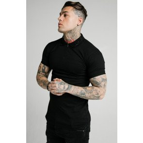 SIKSILK S/S OLD ENGLISH INSET CUFF POLO