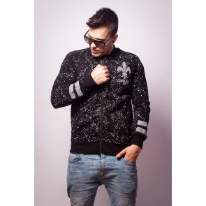 Crewneck Criminal Damage Jacket Splatter Reflective Bomber Black Silver