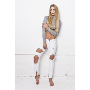 Jeans Liquor n Poker Rebel Super Slashed Skinny White