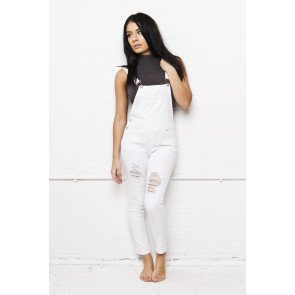 Jeans Liquor n Poker Lizzie Full Skinny Stretch Dungaree Ripped White