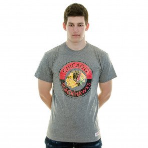 Tričko Mitchell & Ness Split Colour Traditional Chicago Blackhawks Grey