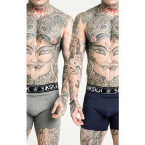 SikSilk (2 Pack) Boxer Shorts Navy Grey Marl