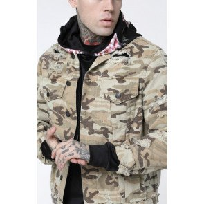 SikSilk Collarless Denim Jacket - Desert Camo