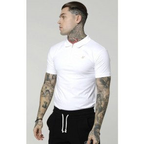 SikSilk S/S Stretch Fit Zip Collar Polo - White