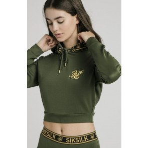 SikSilk Taped Cropped Hoodie - Bronze Green