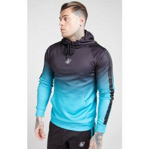 SikSilk Vapour Fade Tape Overhead Hoodie - Black & Teal