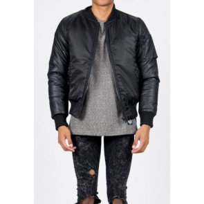 Bunda Sixth June Bomber Noir Manches Simili Cuir Black