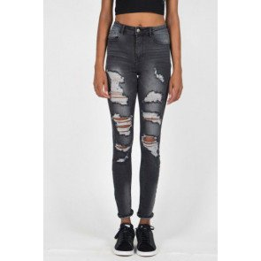 Jeans Sixth June Parisiennes Jean Destroyed Washed Grey