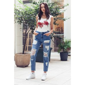 Jeans Sixth June Mummy Fit With Destroy Blue realphotonhs