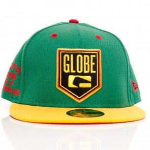 Snapback Globe Above New Era (Kenwood) Baseball 59Fifty Fitted Cap Green Yellow