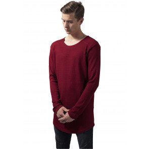 Tričko Urban Classic Long Shaped Waffle Tee Burgundy