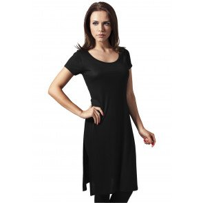 Tričko Urban Classics Ladies Side Slit Viscose Long Tee Black