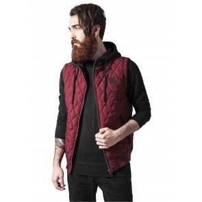 Bunda Urban Classics Diamond Quilted Hooded Vest Burgundy Black