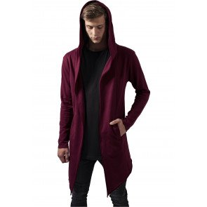 Mikina Urban Classics Long Hooded Open Edge Cardigan Burgundy