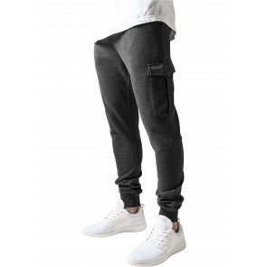Tepláky Urban Classics Fitted Cargo Sweatpants Charcoal