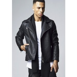 Bunda Urban Classics Leather Imitation Biker Jacket Black