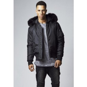 Bombera Urban Classics Hooded Basic Bomber Black