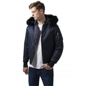 Bombera Urban Classics Hooded Basic Bomber Navy