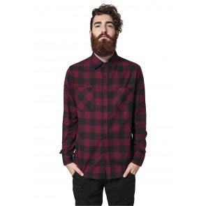 Košeľa Urban Classics Checked Flanell Shirt Black Burgundy