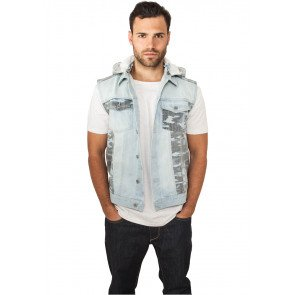 Bunda Urban Classics Hooded Camo Denim Vest Light Blue