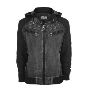 Bunda Urban Classics Hooded Denim Leather Jacket