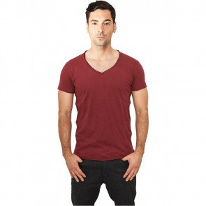 Tričko Urban Classics Fitted Peached Open Edge V-Neck Tee Burgundy