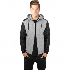 Mikina Urban Classics Diamond Leather Imitation Sleeve Zip Hoody