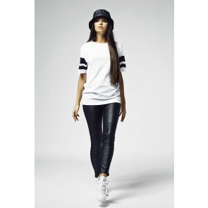 Tričko Urban Classics Ladies Stripe Mesh Tee White
