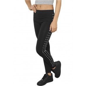 Legíny Urban Classics Ladies Side Rivets Leggings Black Silver