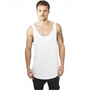Tričko Urban Classics Long Shaped Open Edge Loose Tank White