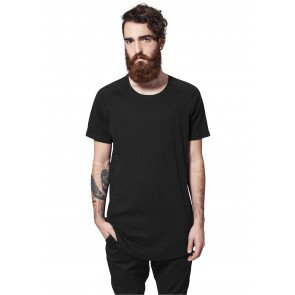 Tričko Urban Classics Long Shaped Slub Raglan Tee Black