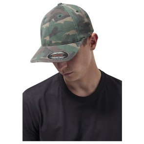 Dad Hat Flexfit Urban Classics Garment Washed Camo Green