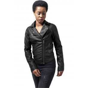 Bunda Urban Classics Ladies Leather Imitation Biker Jacket Black