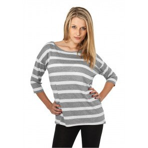 Tričko Urban Classics Ladies Loose Striped Grey White
