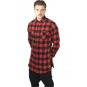 Košeľa Urban Classics Side-Zip Long Checked Flanell Shirt Black Red