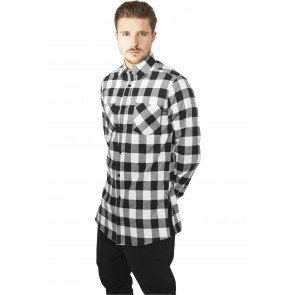 Košeľa Urban Classics Side-Zip Ong Checked Flanell Shirt Blk/wht