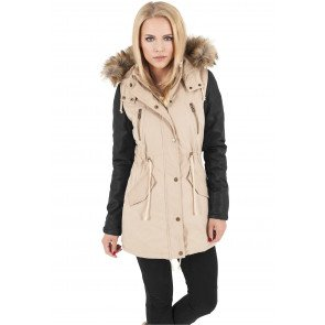 Bunda Urban Classics Ladies Leather Imitation Sleeve Parka Sand Black