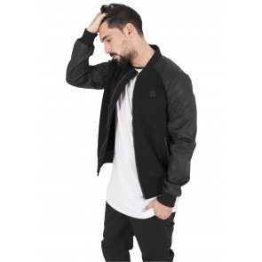 Bunda Urban Classics Cotton Leather Imitation Sleeve Jacket Blk/blk