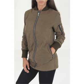 adies Peached ong Bomber Jacket olive
