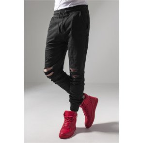 Tepláky Urban Classics Cutted Terry Pants Black