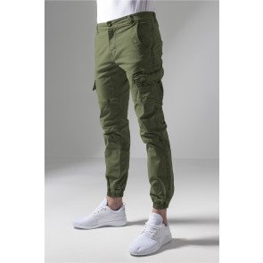 Nohavice Urban Classics Washed Cargo Twill Jogging Pants Olive