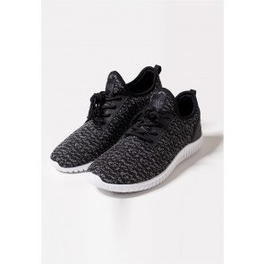 Tenisky Urban Classics Knitted Light Runner Black Grey White